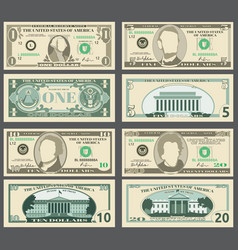 Dollar banknotes us currency money bills vector