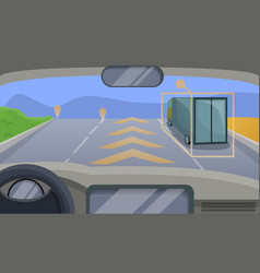 Driverless car highway moving concept background vector
