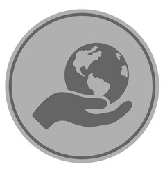 earth care silver coin vector image
