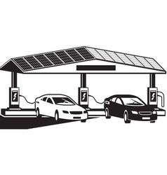 Electric vehicles at charging station vector