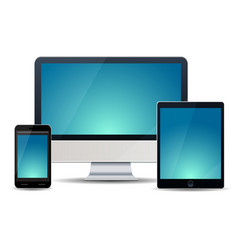 Electronic devices with purple screens - desktop vector