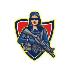 Elite beautiful female commando soldier vector
