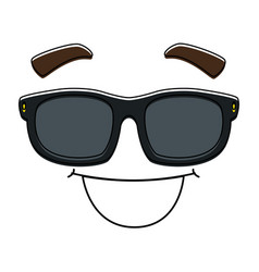 face emoji with sunglasses kawaii character vector image