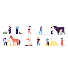 farmer characters people agricultural workers vector image