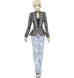 Fashion sketch of woman in military jacket vector