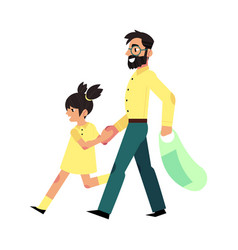 father and daugher in supermarket vector image