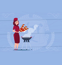 Female chef cook holding kebab cartoon chief in vector