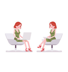 female clerk sitting and working vector image