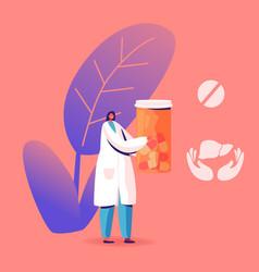 Female doctor in medical robe holding pills bottle vector