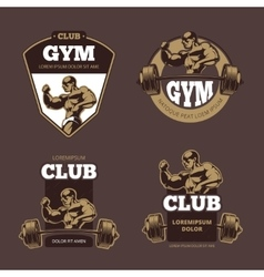 Fitness and bodybuilder sports retro emblems vector