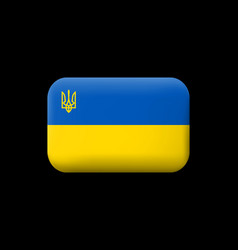 flag of ukraine with trident matted icon and vector image