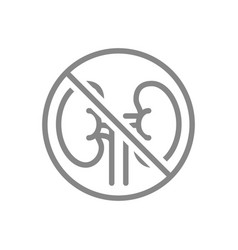 forbidden sign with a kidneys line icon vector image