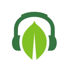 Green leaf and headphone logo design eco living vector