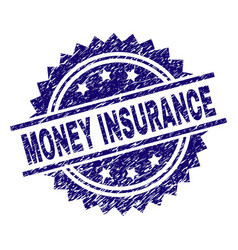 grunge textured money insurance stamp seal vector image