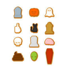 halloween cookies set cookie for terrible holiday vector image
