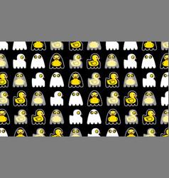 halloween seamless pattern yellow duck cute ghost vector image