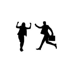 Happy business silhouettes vector