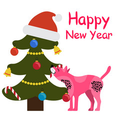 Happy new year greeting card cartoon spotted dog vector