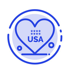 heart love american usa blue dotted line line icon vector image