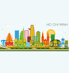 Ho chi minh skyline with color buildings and blue vector