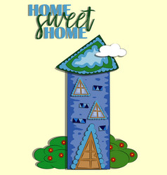 home sweet home flat house exterior with trees vector image