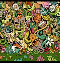 India hand drawn doodles indian frame card design vector