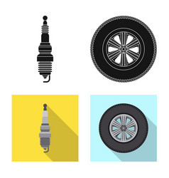 Isolated object of auto and part icon collection vector