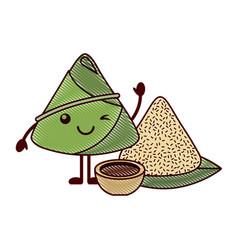 Kawaii winking rice dumpling with sauce cartoon vector