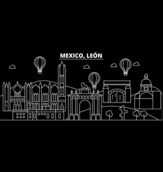 leon silhouette skyline mexico - leon city vector image