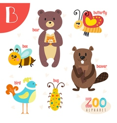 Letter B Cute animals Funny cartoon animals in vector