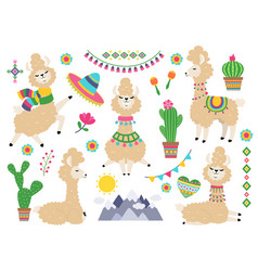 llama set ballamas cartoon alpaca wild lama vector image