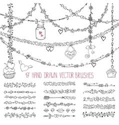 Love heart doodle brushesValentinewedding vector