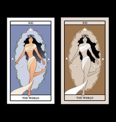 Major arcana tarot cardsworld beautiful vector