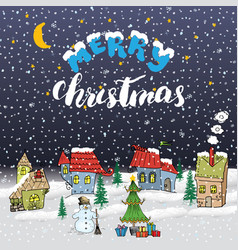 merry christmas hand drawn doodle with small vector image
