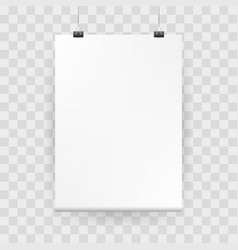 mockup poster white blank mock up with binders vector image