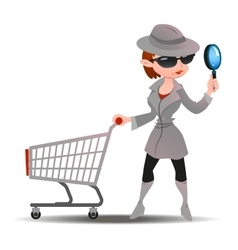 Mystery shopper woman in spy coat with shopping vector