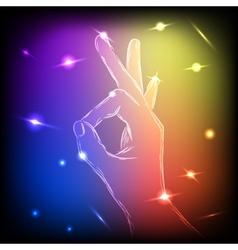 Neon Hand OK vector