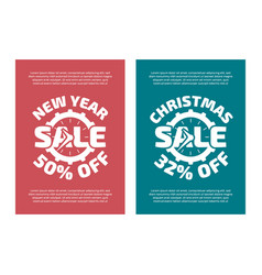 New year and christams sale banners vector