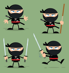 ninja warrior character with weapons collection vector image