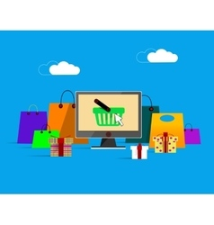 On line shopping banner vector image
