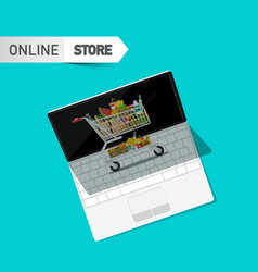 online store symbol with shopping cart and vector image