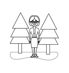 Outline elegant woman wearing glasses and pine vector