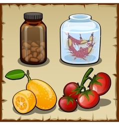 Pills fresh lemon and cherry tomatoes vector