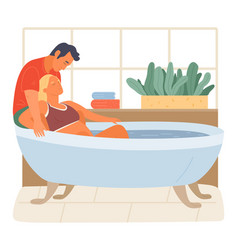 Pregnancy preparing wife and husband joint birth vector