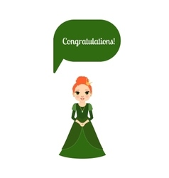 Princess with speech bubble Congratulations vector