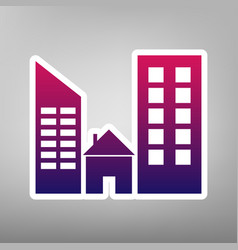 real estate sign purple gradient icon on vector image
