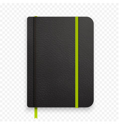 realistic black notebook with green elastic band vector image