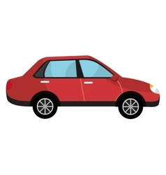 red car and black wheels graphic vector image
