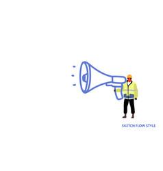 repairman holding megaphone workman construction vector image