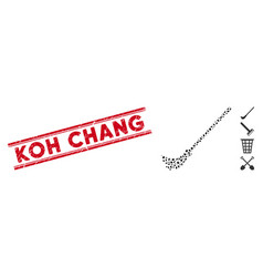 Scratched koh chang line stamp and collage broom vector